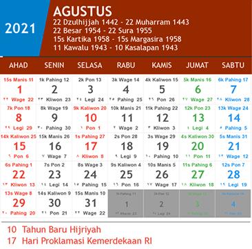 kalender agustus 2021