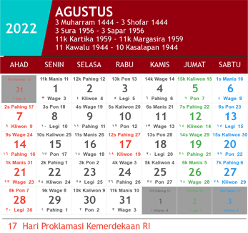 kalender agustus 2022