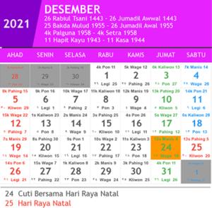 kalender desember 2021