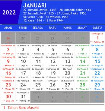 Kalender 2022 lengkap hari libur nasional (indonesia, jawa
