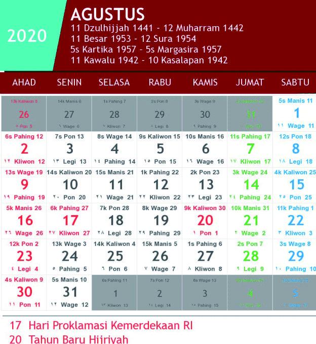 kalender jawa agustus 2020