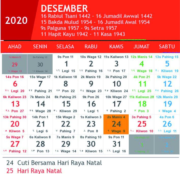 kalender jawa desember 2020