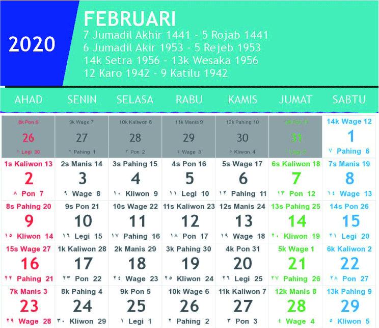 kalender jawa februari 2020
