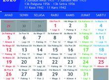 kalender jawa januari 2020