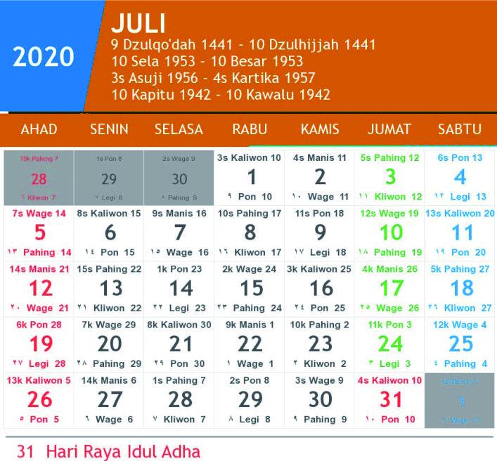 Kalender Jawa Juli 2020 Lengkap Hari Pasaran Dan Wuku Hari