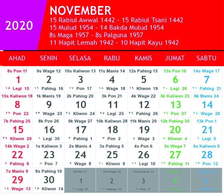 kalender jawa november 2020
