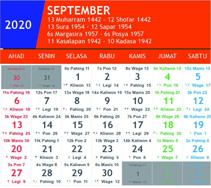kalender jawa september 2020