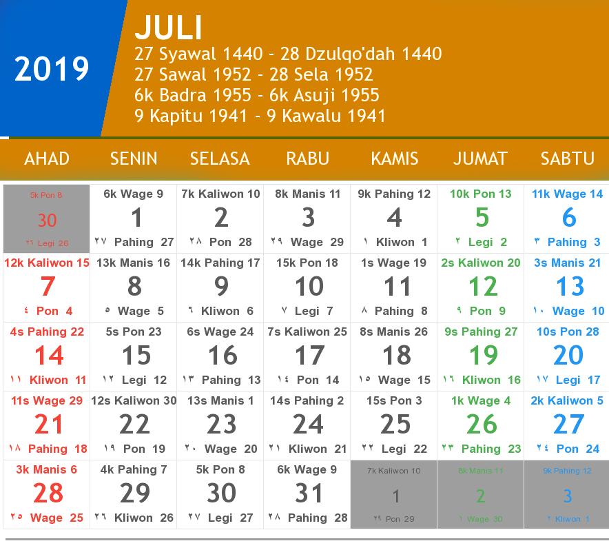 kalender juli 2019