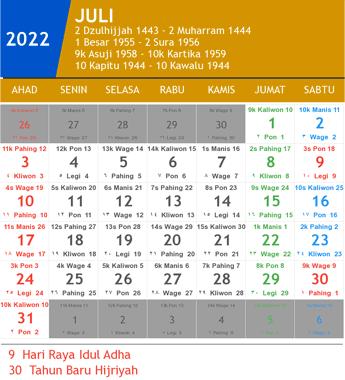 kalender juli 2022
