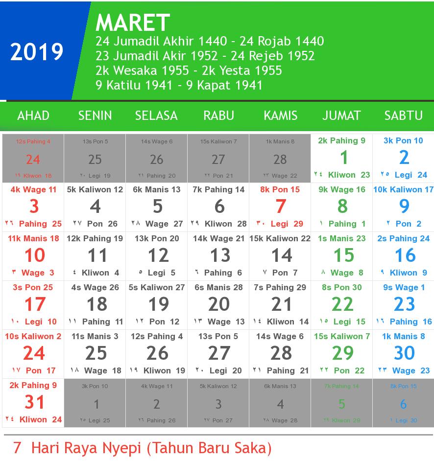 kalender maret 2019