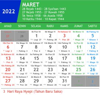 kalender maret 2022