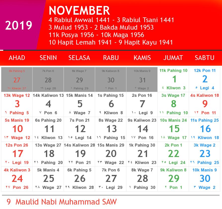 kalender november 2019