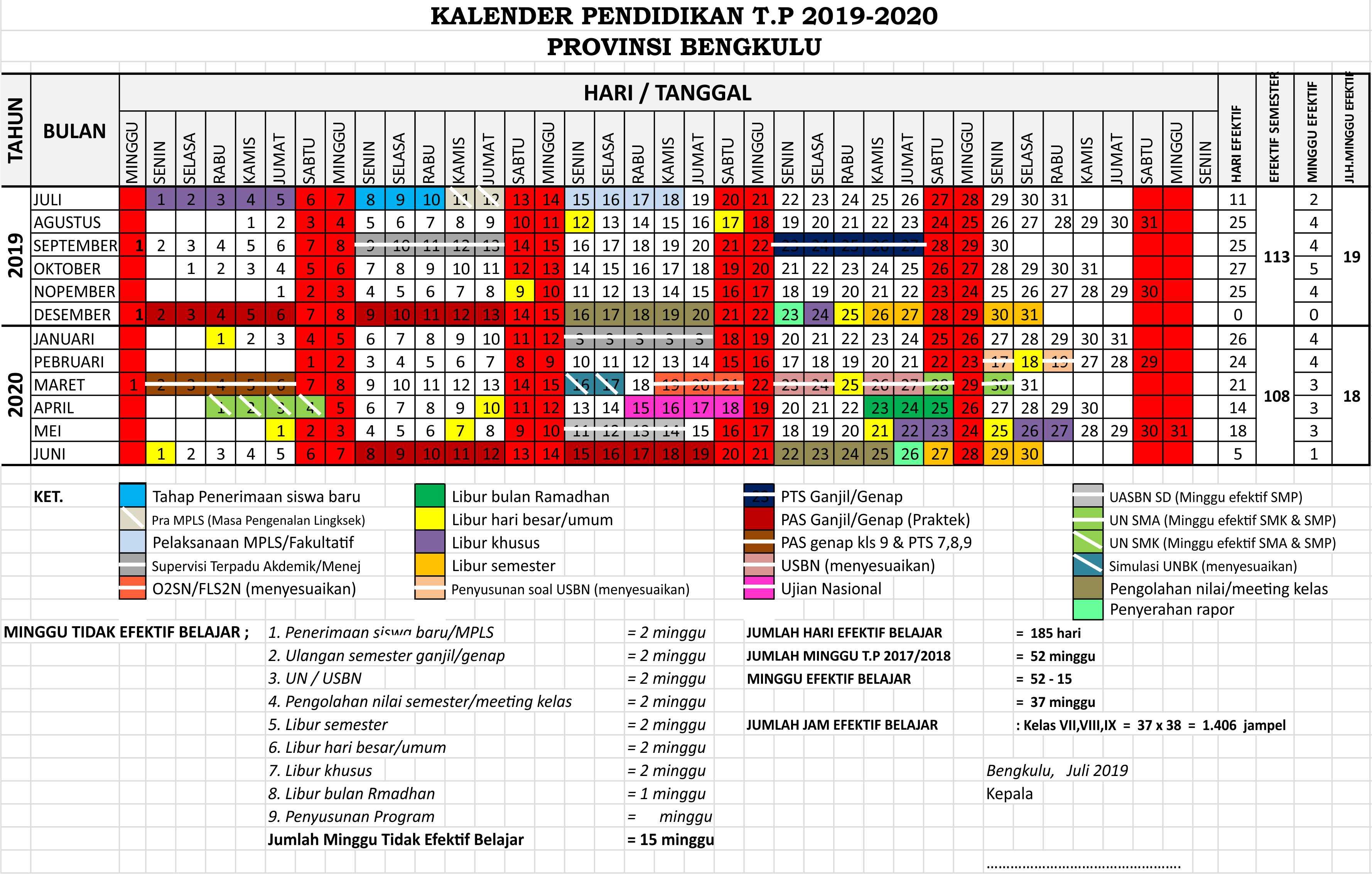 kalender pendidikan 2019 - 2020 bengkulu