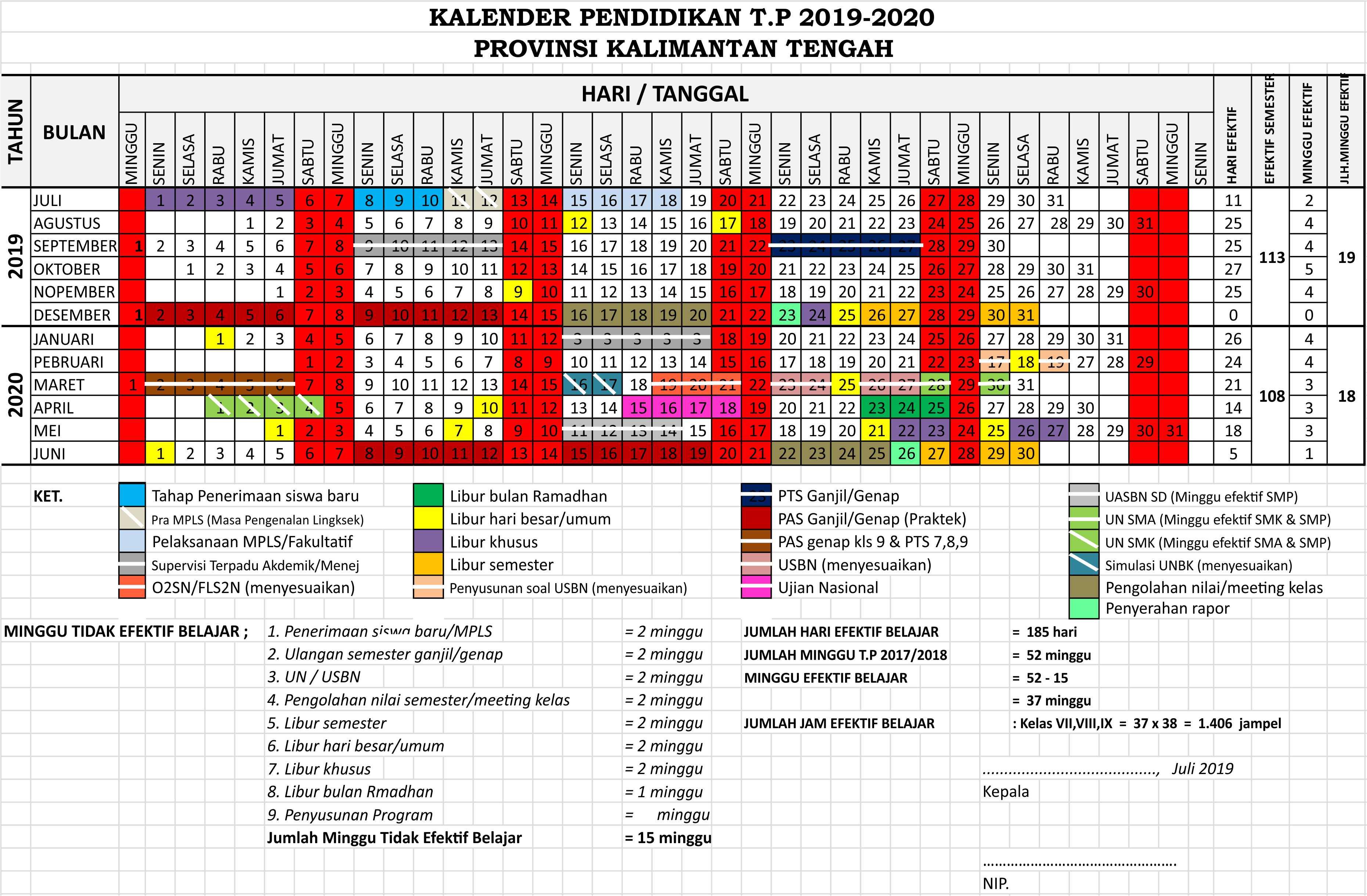 kalender pendidikan 2019 - 2020 kalimantan tengah
