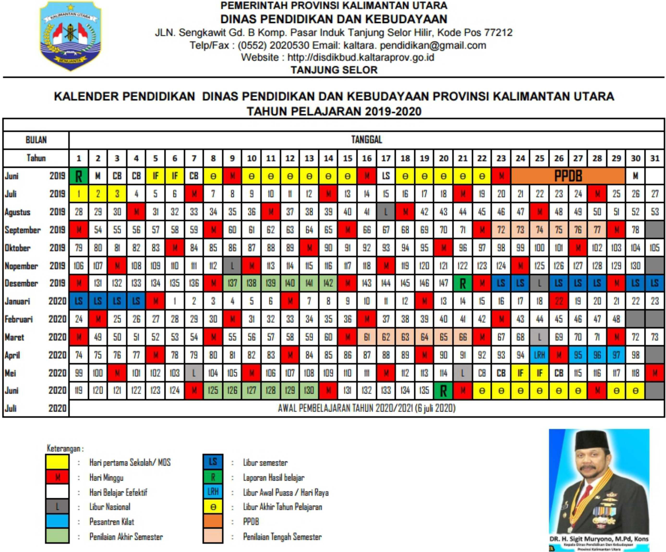 kalender pendidikan 2019 - 2020 kalimantan utara