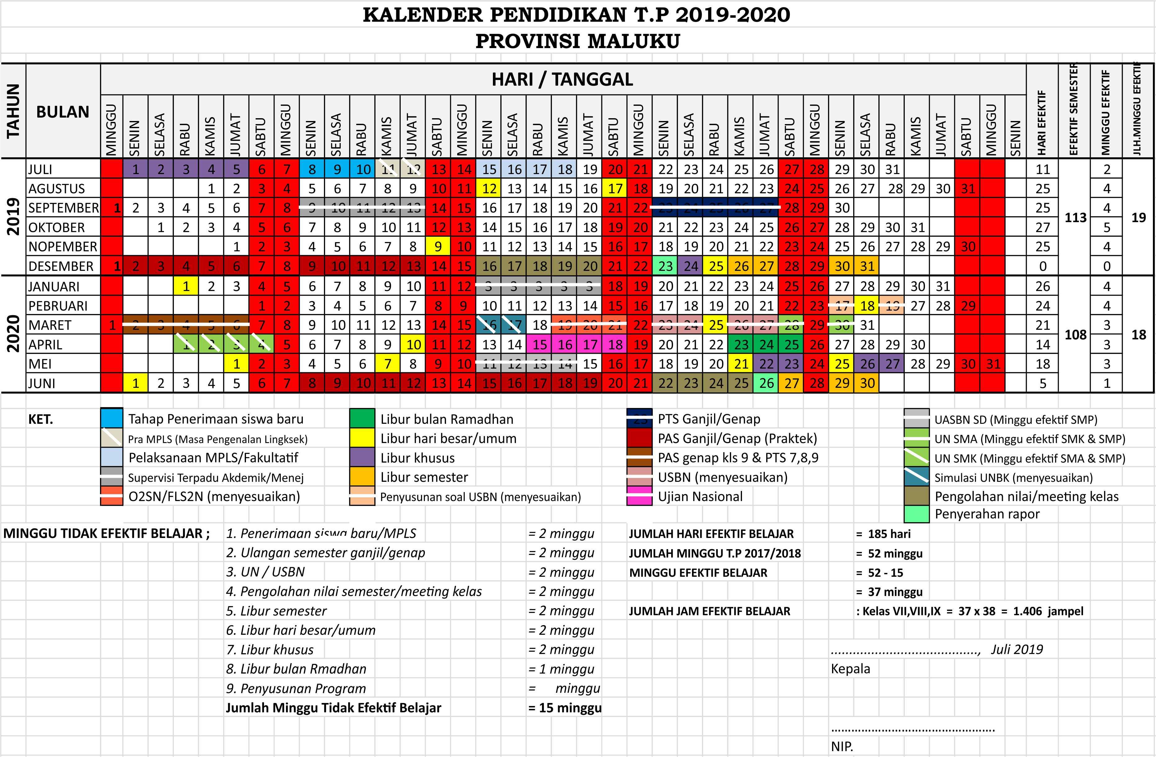 kalender pendidikan 2019 - 2020 maluku