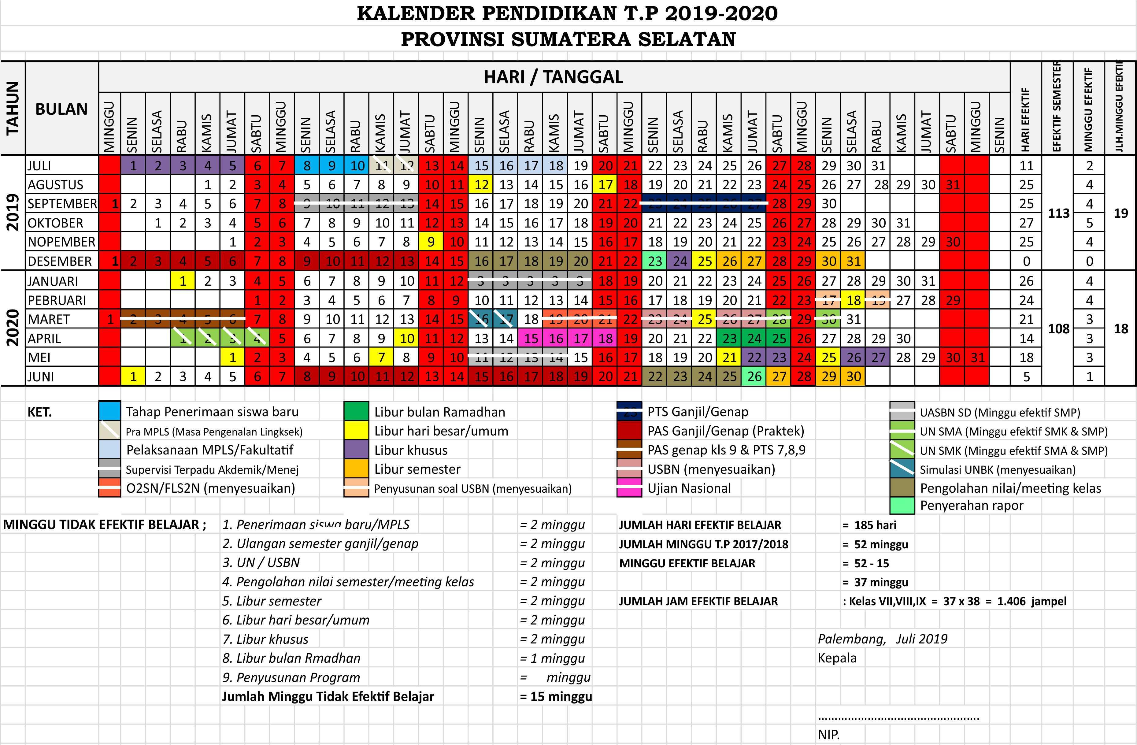 kalender pendidikan 2019 - 2020 sumatera selatan