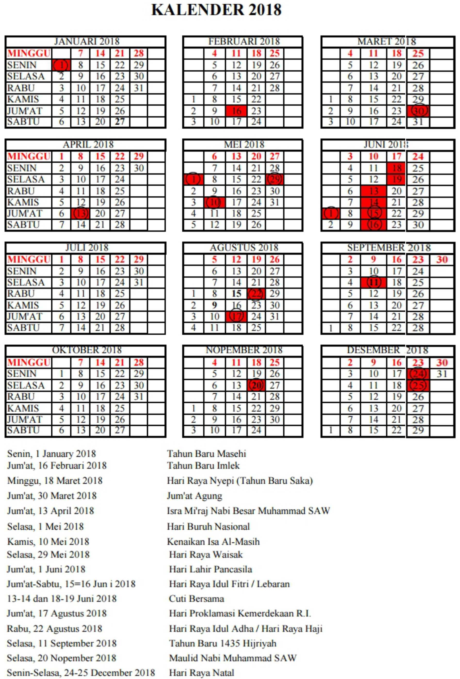kalender pendidikan Provinsi BANTEN tahun pelajaran 2018