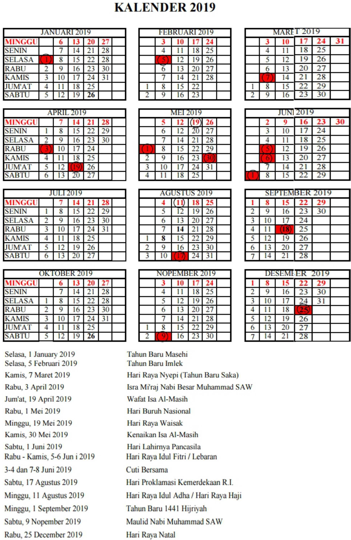 kalender pendidikan Provinsi BANTEN tahun pelajaran 2019