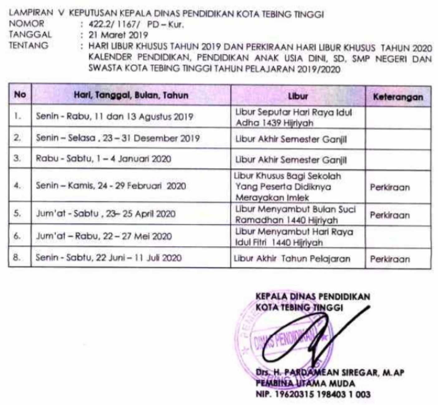 kalender pendidikan TEBING TINGGI sumatera utara tahun pelajaran 2019-2020