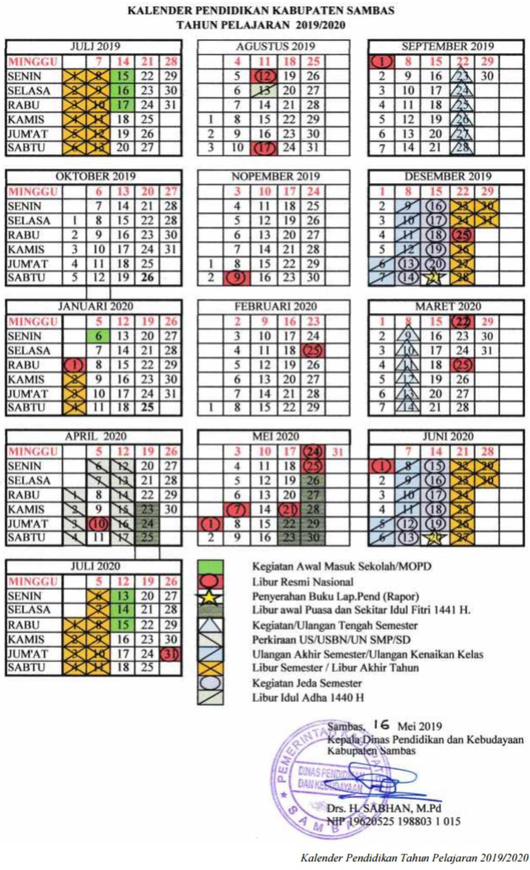 kalender pendidikan kabupaten Sambas provinsi kalimantan barat tahun pelajaran 2019-2020