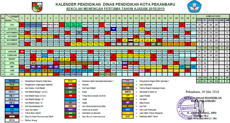 kalender pendidikan pekan baru provinsi riau 2018 - 2019