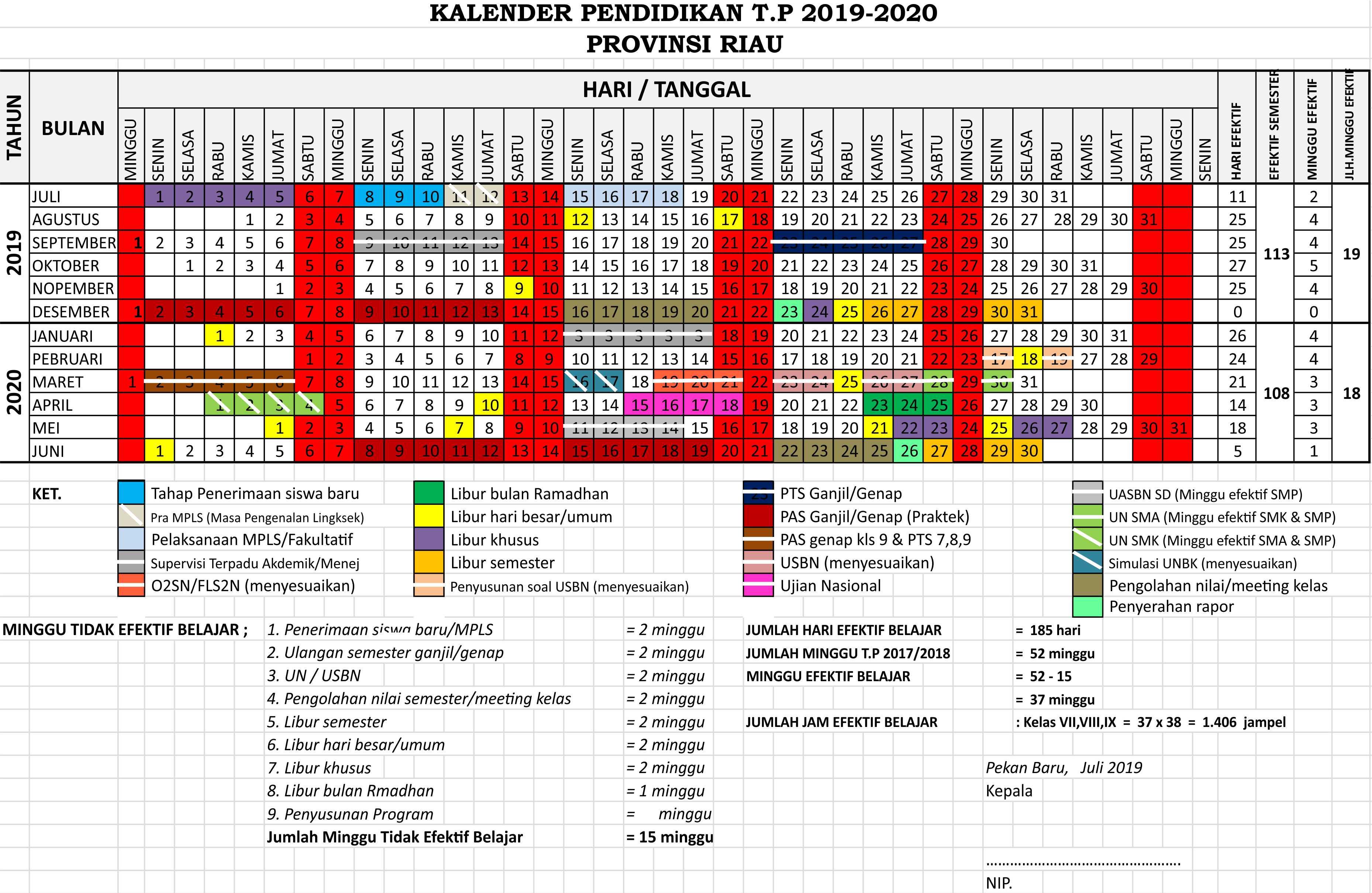 kalender pendidikan pekan baru provinsi riau 2019 - 2020