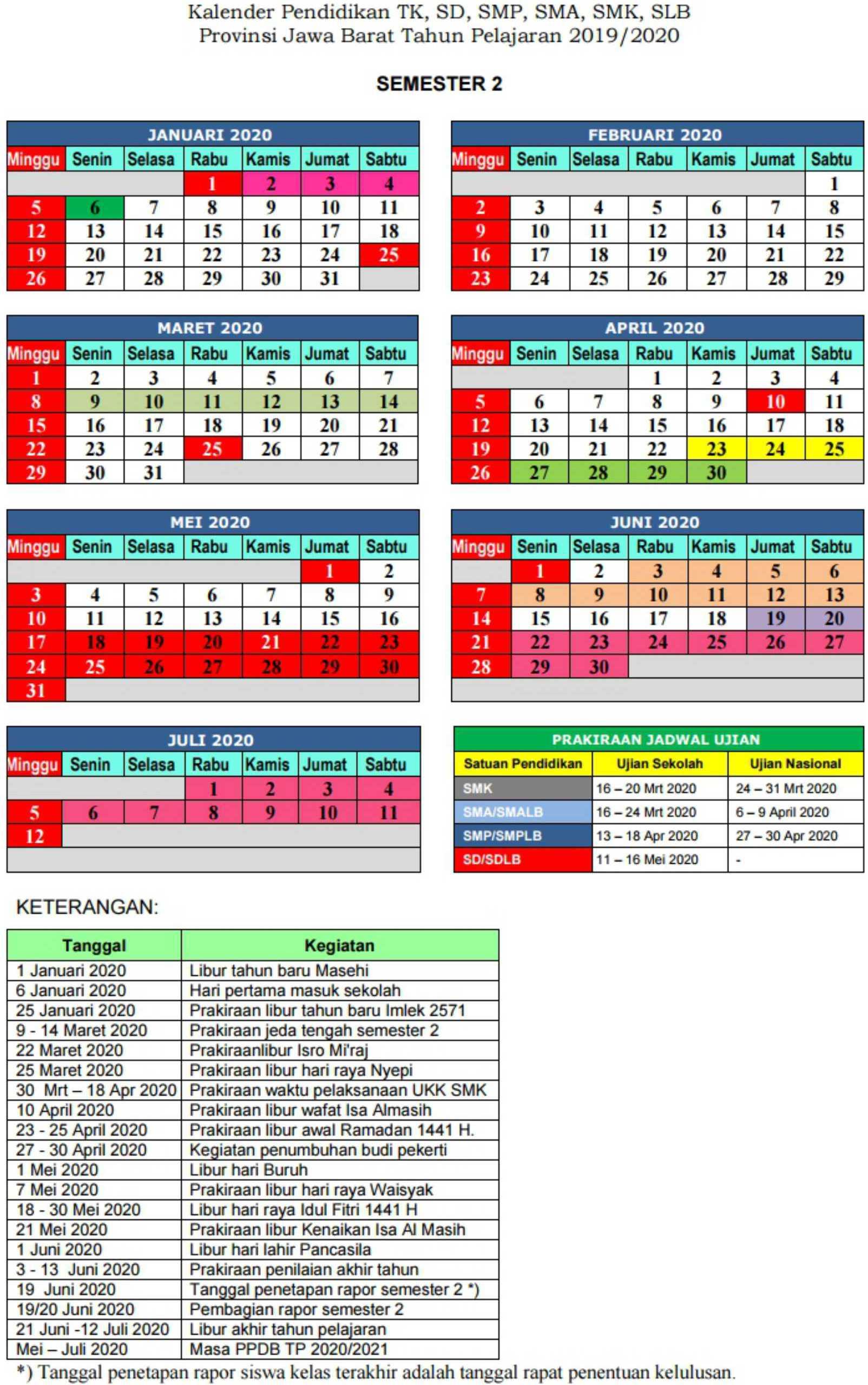 kalender pendidikan semester 2 TK SD SMP SMA SMK SLB pronvinsi jawa barat tahun pelajaran 2019-2020
