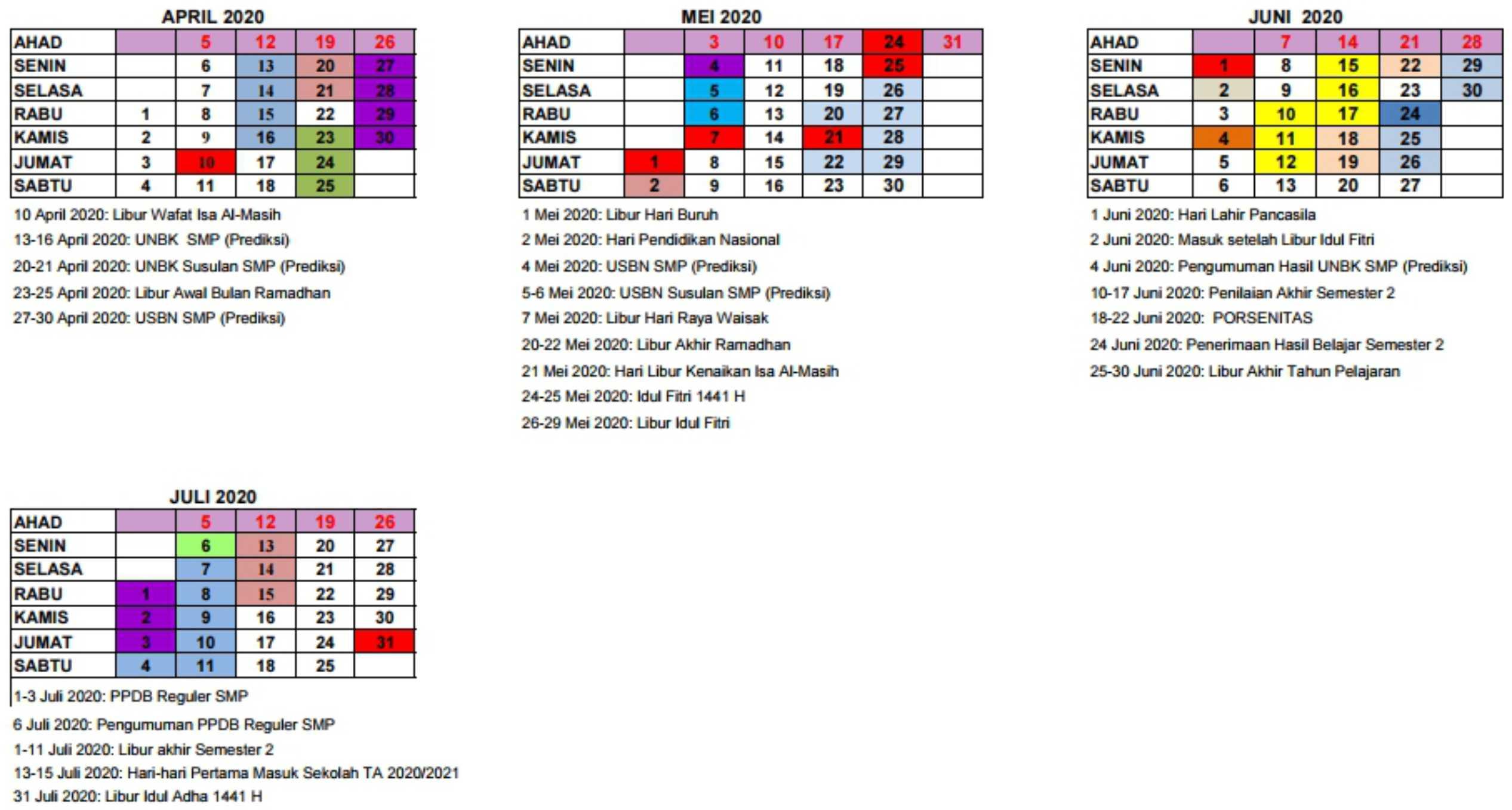 kalender pendidikan tahun ajaran 2019-2020 SMP SMPLB DI yogyakarta