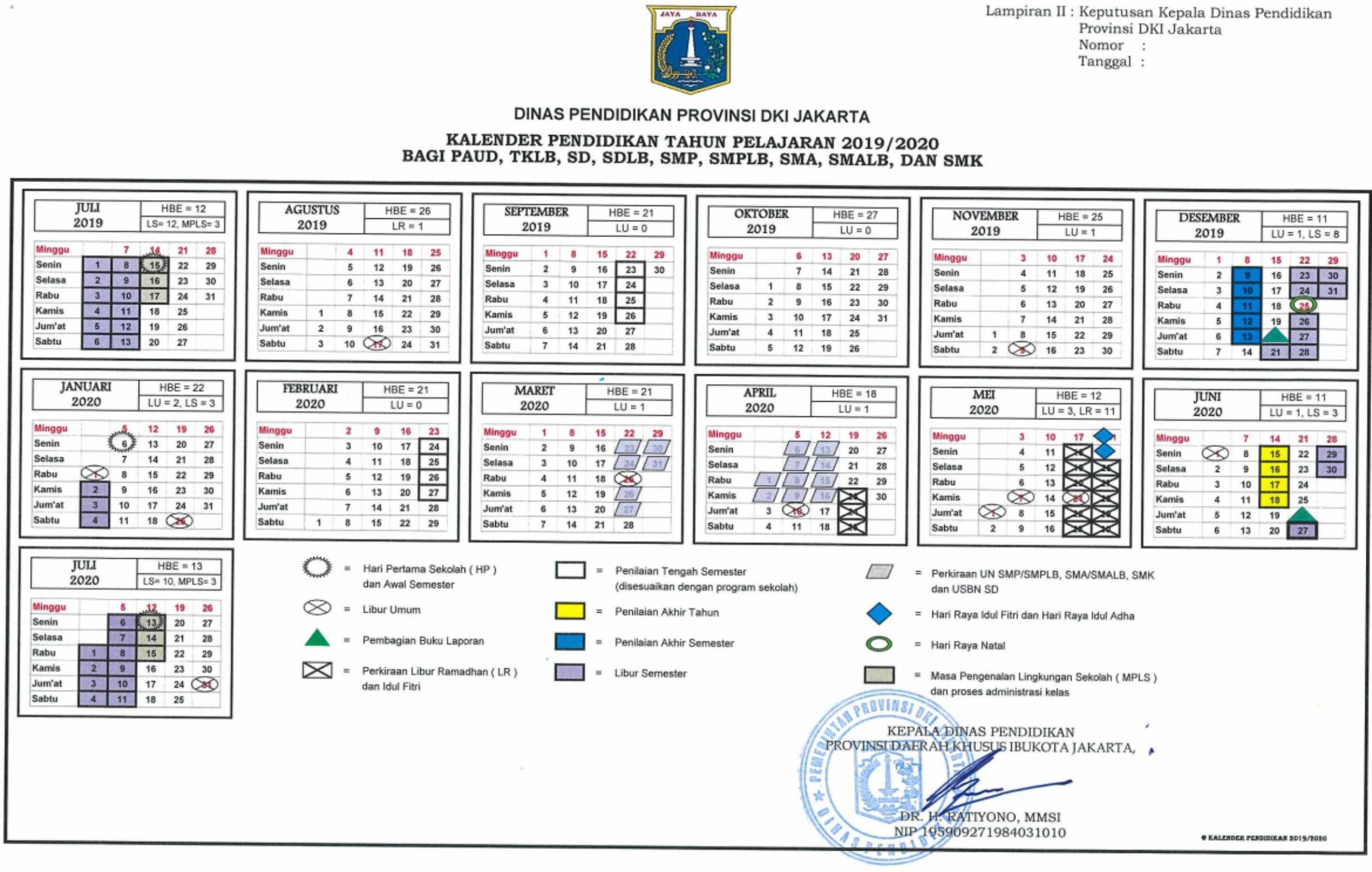 kalender pendidikan tahun pelajaran 2019-2020 bagi PAUD TKLB SD SDLB SMP SMPLB SMA SMALB dan SMK