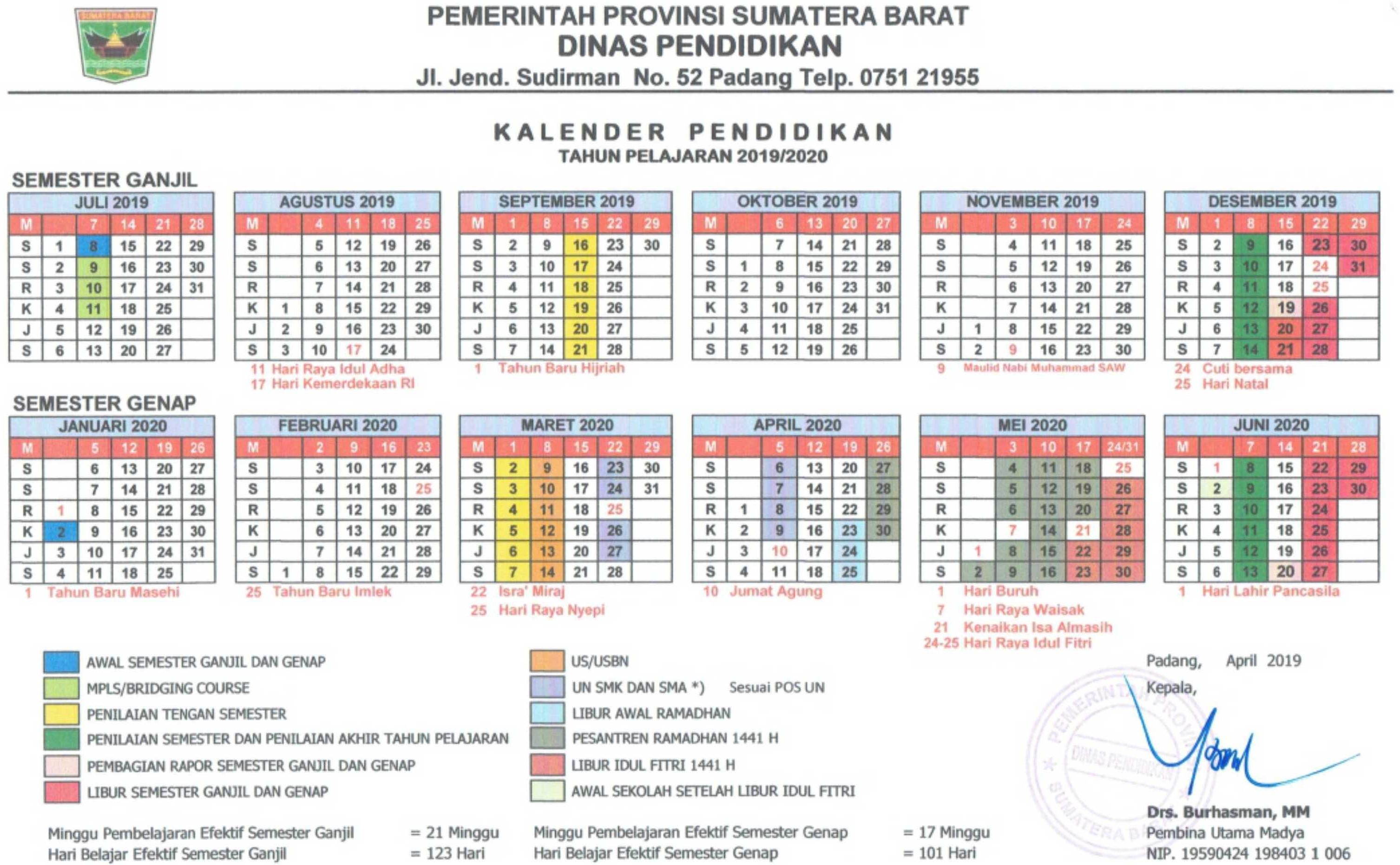 kalender pendidikan tahun pelajaran 2019-2020 provinsi sumatera barat (semeseter ganjil-semester genap)