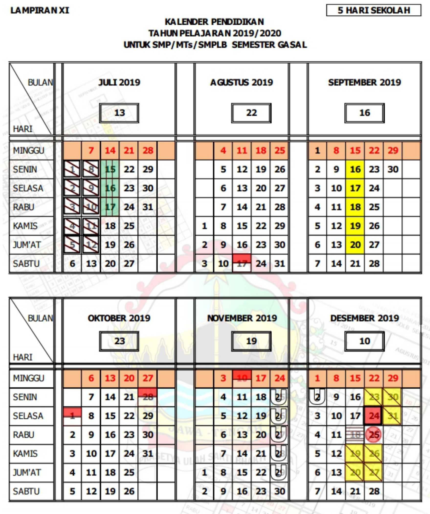 kalender pendidikan tahun pelajaran 2019 - 2020 semester gasal-ganjil SMP SMPLB MTs (5 hari sekolah) provinsi jawa tengah