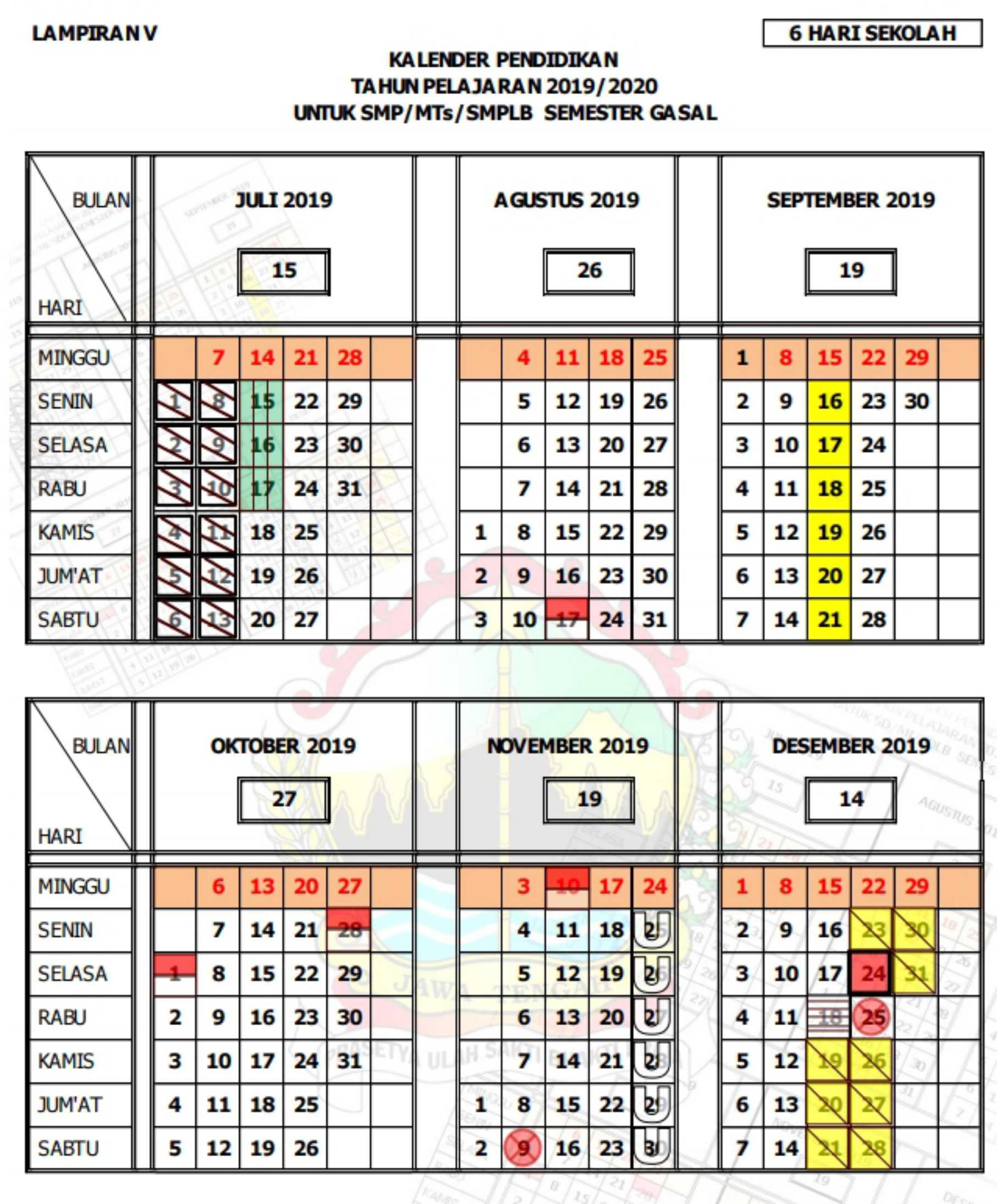kalender pendidikan tahun pelajaran 2019 - 2020 semester gasal (ganjil) SMP SMPLB MTs (6 hari sekolah) provinsi jawa tengah