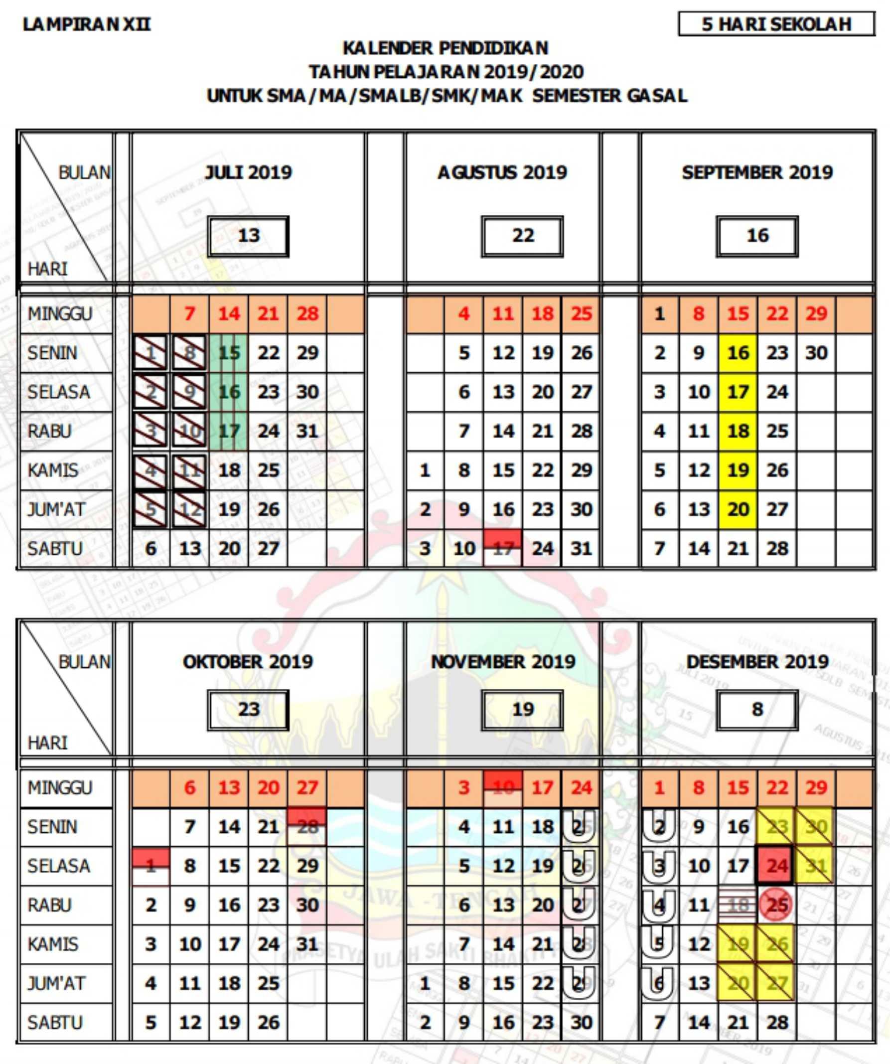kalender pendidikan tahun pelajaran 2019 - 2020 semester gasal(ganjil) SMA MA SMALB SMK MAK (5 hari sekolah) provinsi jawa tengah