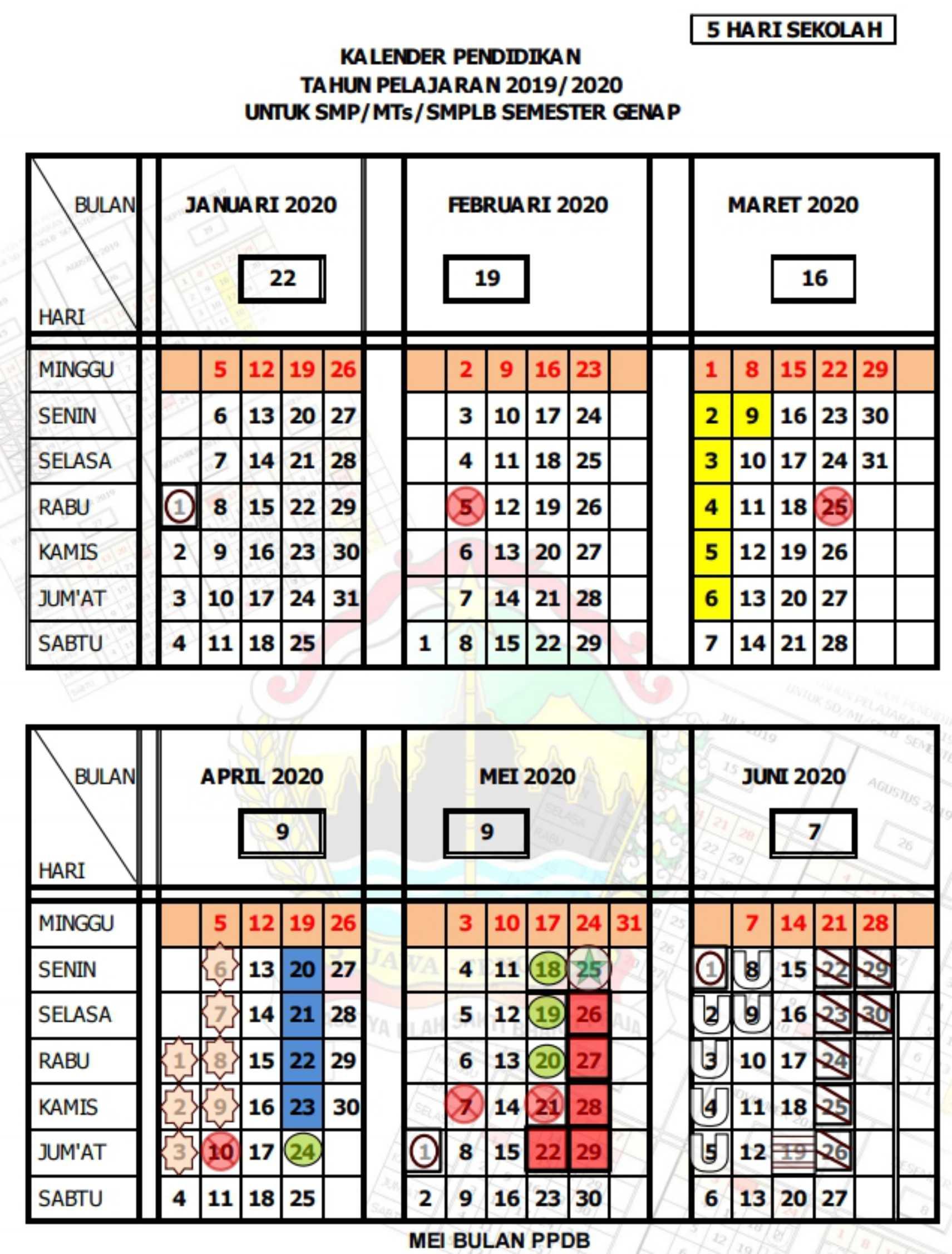 kalender pendidikan tahun pelajaran 2019 - 2020 semester genap (5 hari sekolah) SMP SMPLB MTs provinsi jawa tengah