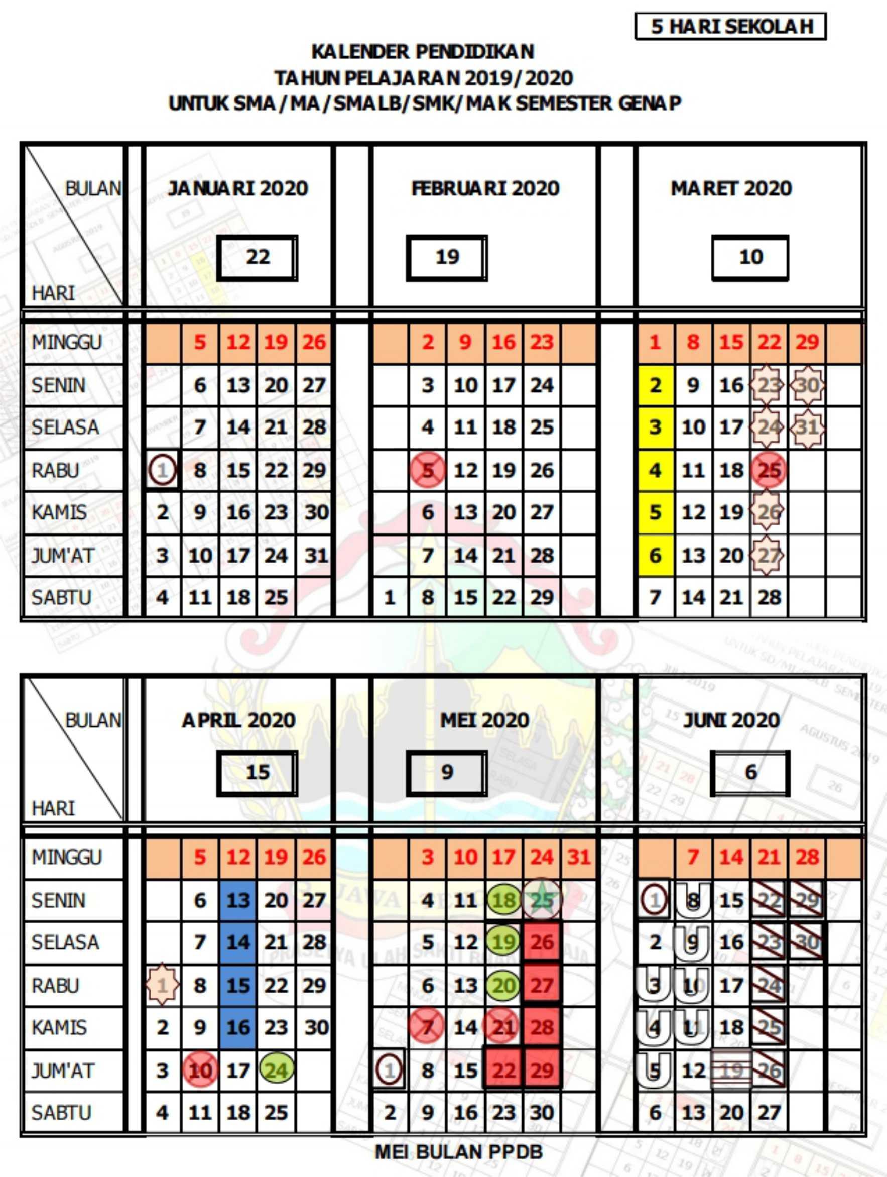 kalender pendidikan tahun pelajaran 2019 - 2020 semester genap SMA MA SMALB SMK MAK (5 hari sekolah) provinsi jawa tengah