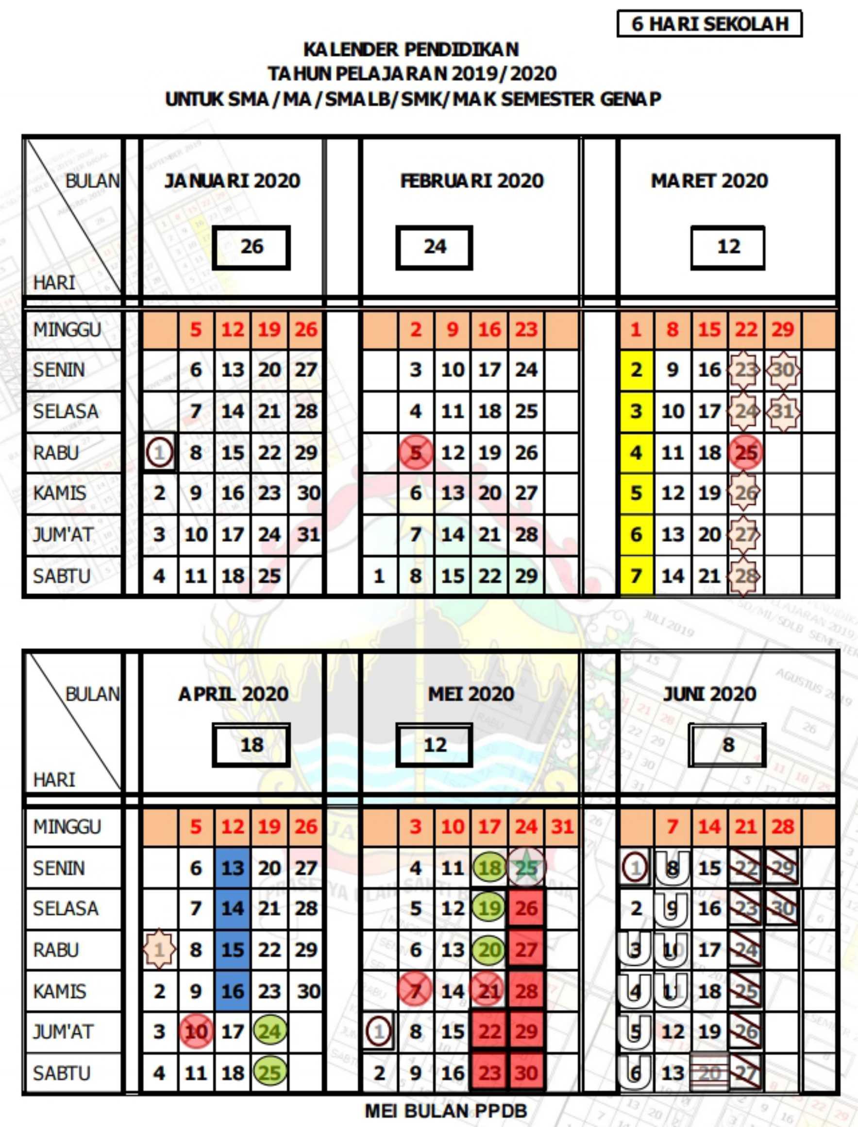 kalender pendidikan tahun pelajaran 2019 - 2020 semester genap SMA MA SMALB SMK MAK (6 hari sekolah) provinsi jawa tengah