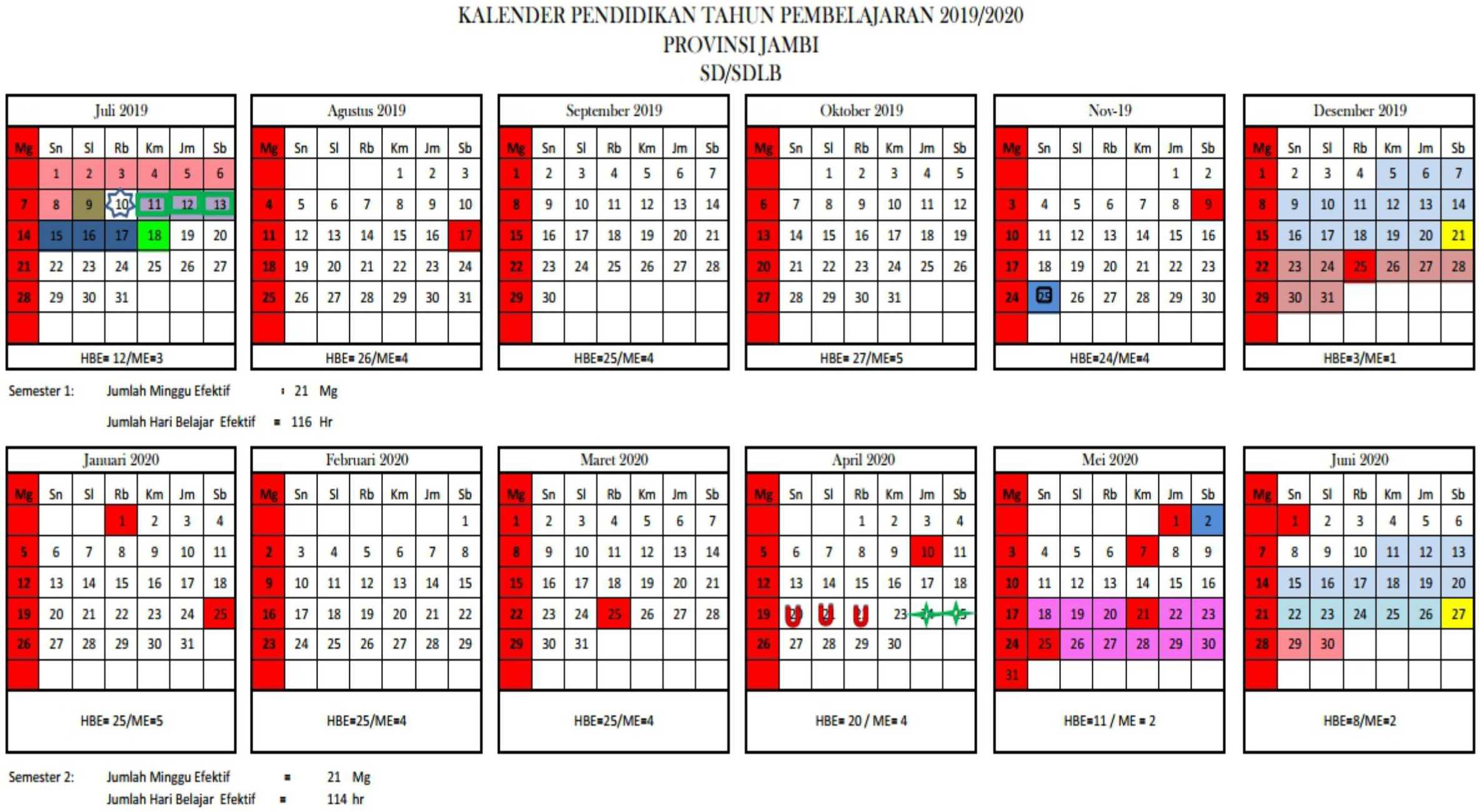 kalender pendidikan tahun pembelajaran 2019-2020 provinsi jambi SD-SDLB