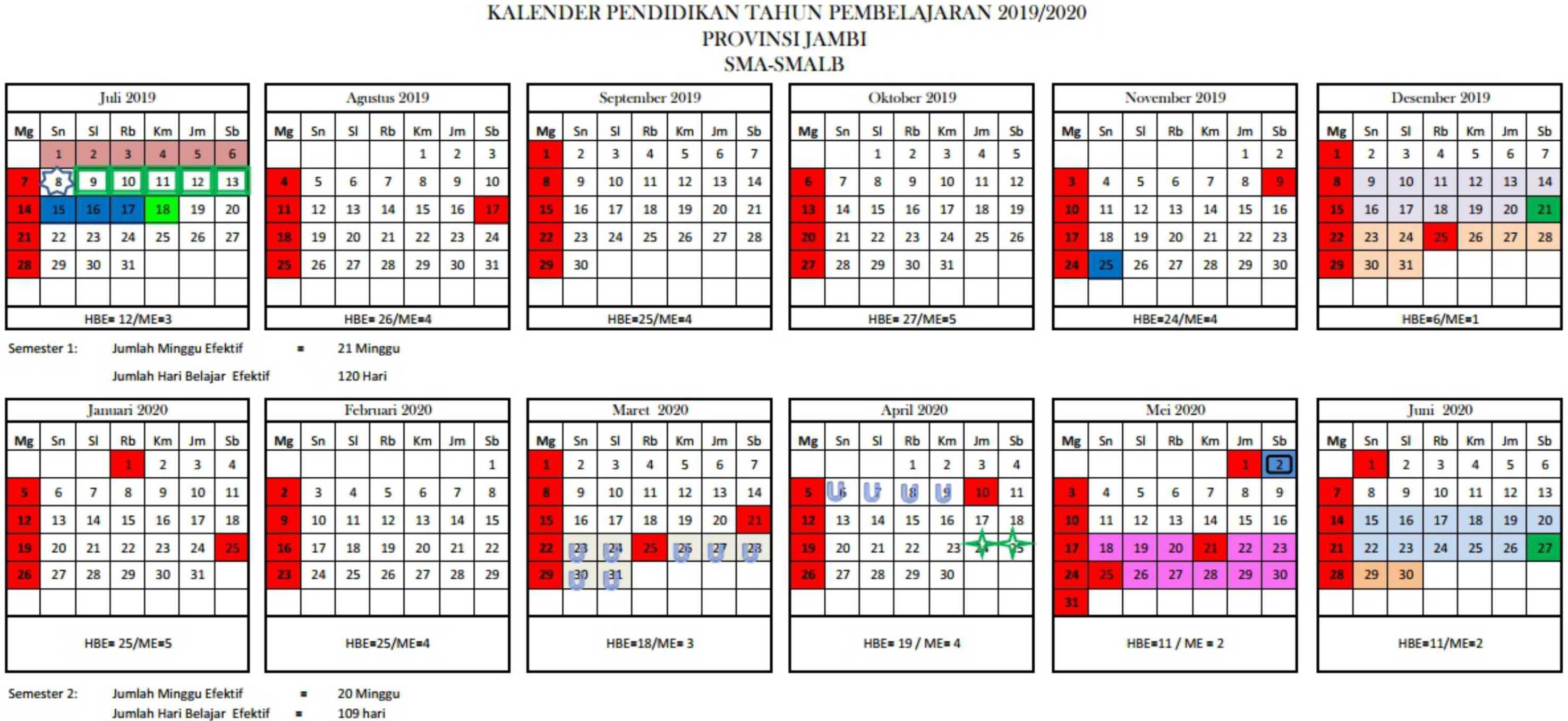 kalender pendidikan tahun pembelajaran 2019-2020 provinsi jambi SMA-SMALB