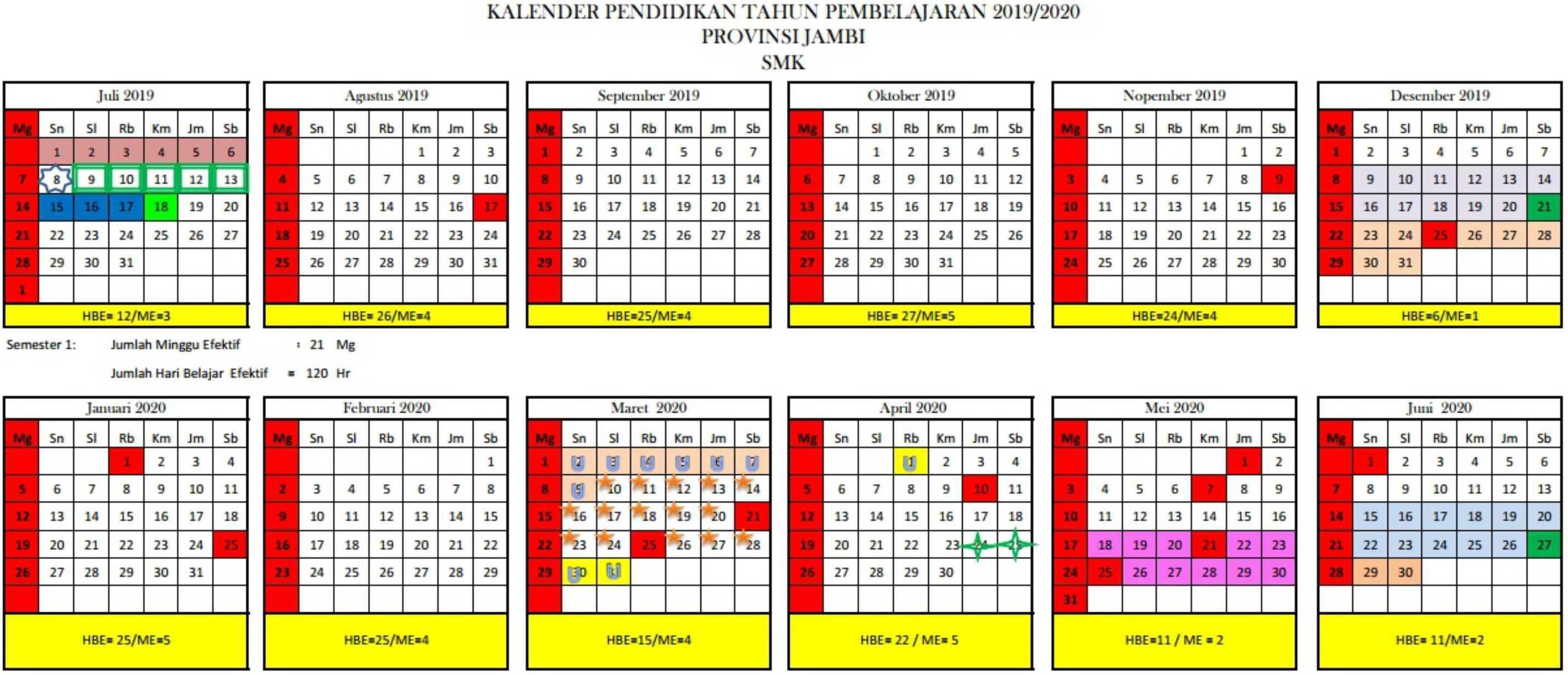 kalender pendidikan tahun pembelajaran 2019-2020 provinsi jambi SMK