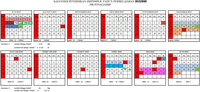 kalender pendidikan tahun pembelajaran 2019-2020 provinsi jambi SMP-SMPLB