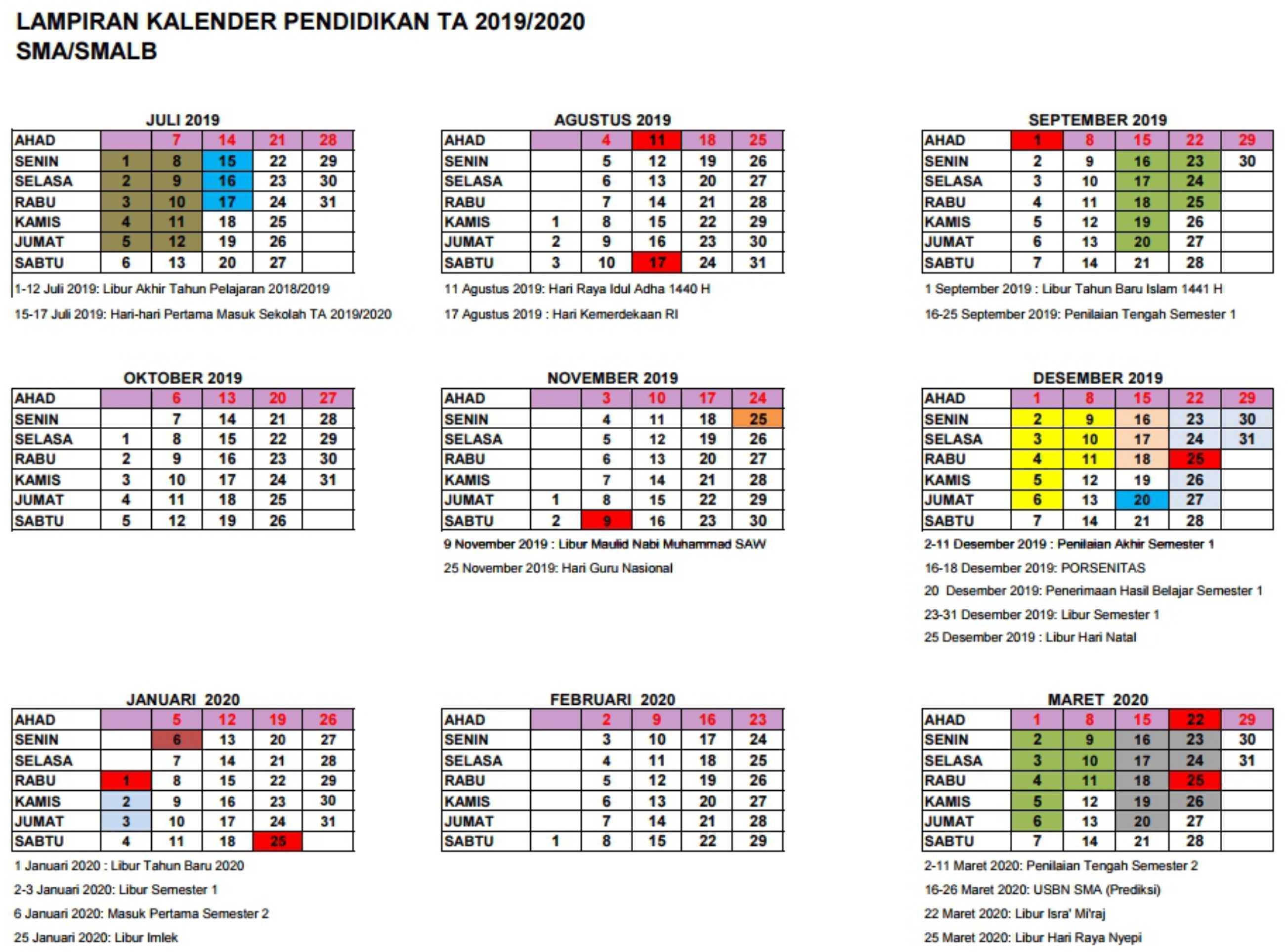 lampiran kalender pendidikan tahun ajaran 2019-2020 SMA SMALB DI yogyakarta