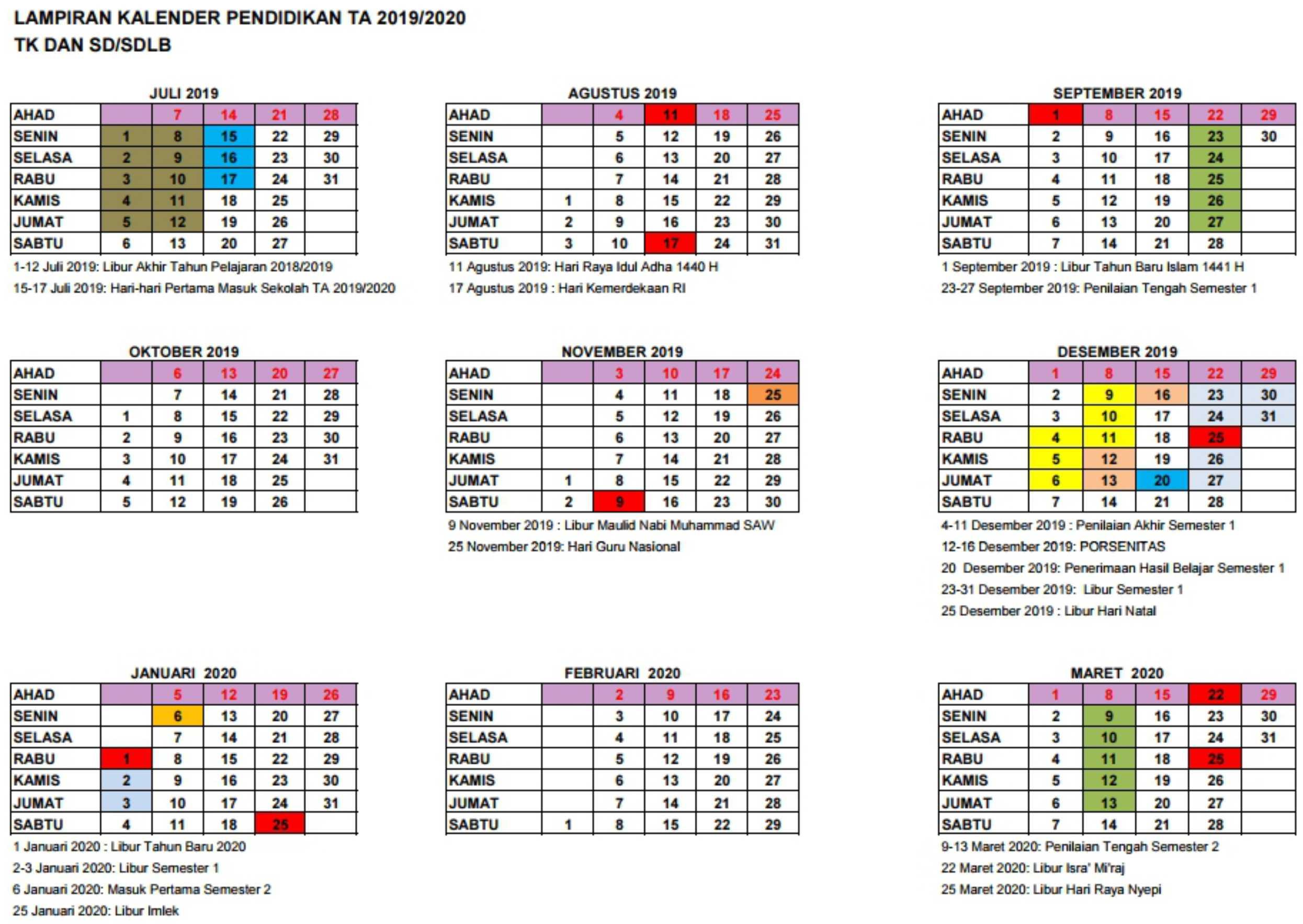 lampiran kalender pendidikan tahun ajaran 2019-2020 TK SD SDLB DI yogyakarta