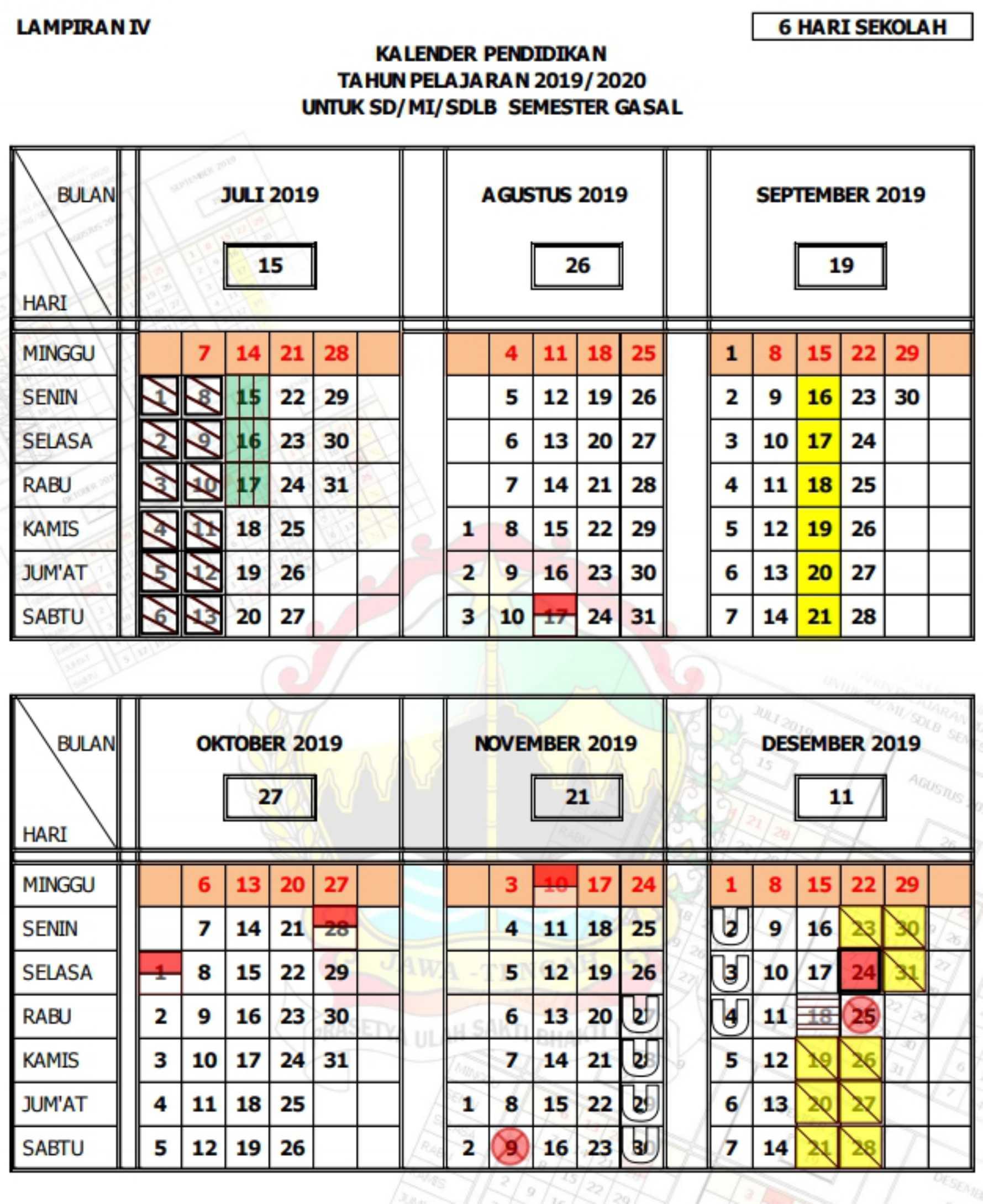 uraian kalender pendidikan tahun pelajaran 2019 - 2020 semester gasal (ganjil) SD SDLB MI (6 hari sekolah) provinsi jawa tengah
