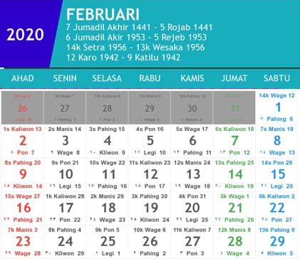 kalender indonesia februari 2020