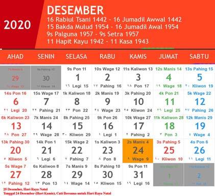 kalender indonesia desember 2020