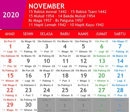 kalender indonesia november 2020