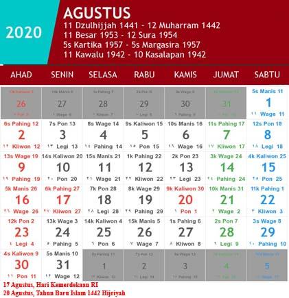 kalender indonesia agustus 2020