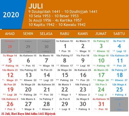 kalender indonesia juli 2020