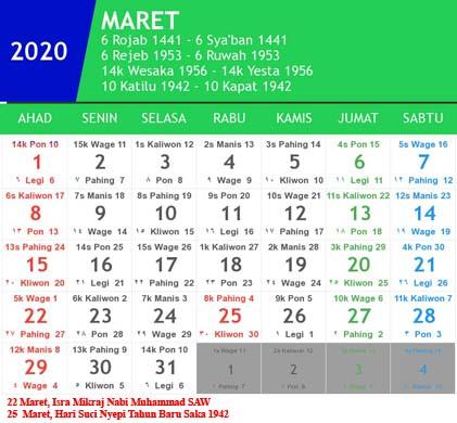 kalender indonesia maret 2020